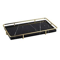 PuTwo Decorative Tray Black Marble Tray with Polished Gold Metal Handles Jewelry Tray Handmade Catchall Vanity Tray for Dresser Bathroom Vanity Table Bar Ideal Gift for Birthday Christmas - Black