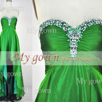 2014 Prom Dress ,High Low Beads Crystal Green Chiffon Dresses, Wedding Dress,Cocktail Dress,Gown,Evening Gown,Prom Gown