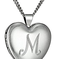 "Rhodium 26mm (1"") Personalized with Initial-M Heart Chain Locket Necklace, 24"""