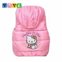 2018 children winter Outerwear Coats Hello Kitty Girls vest hooded vest Kids windbreaker Jacket 100% cotton coats baby warm vest