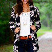 Crochet Crackle Cardigan, Black