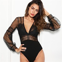 Elegant Plunge Neck Lace Insert Sheer Mesh Puff Sleeve Mid Waist Bodysuit Women Going Out Bodysuits