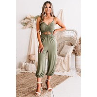 Love Freely Ruched Cut-Out Jumpsuit (Olive)