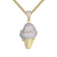 14k Gold Finish Ice Cream Cup Cone Small Pendant Tennis Chain
