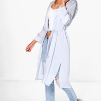Sofia Belted Silky Duster