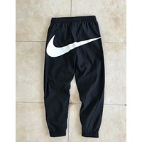 Nike Trending Unisex Casual Hip Big Logo Print Pant Foot Double Zipper Drawstring Sport Stretch Pants Trousers Sweatpants Black I-AA-XDD