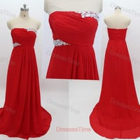 Red homecoming dress, long prom dress, chiffon evening gown, formal party dress for girls, red prom dress, wedding party dress