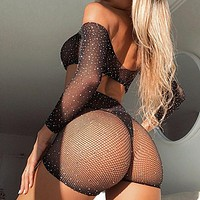 Sexy Hot 2 Piece Set Women Club Outfits Mesh Long Sleeve Crop Top+Shorts Bling Rhinestones Fishnet Suits Newest