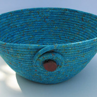 Turquoise Coiled Fabric Basket, Bowl