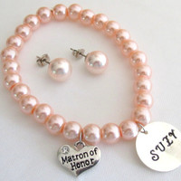 Name Bracelet with Matron Of Honor Personalized Bracelet Customize Wedding Name Bracelet Oyster Shell Stud Earrings Free Shipping In USA