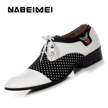 Chaussure homme pointed toe dress shoes big size 5.5-10.5 mixed colors microfiber formal shoes men white/black zapatos hombre
