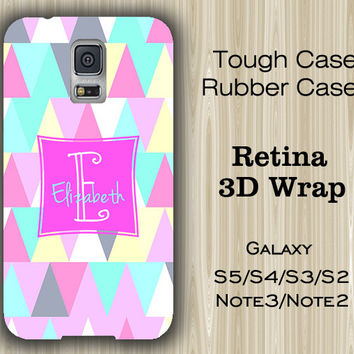 Pink and Teal Triangle Monogram Samsung Galaxy S5/S4/S3/Note 3/Note 2 Case