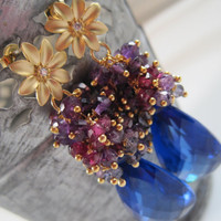 Midnight in November  Amethyst Kyanite Garnet Topaz by theodate