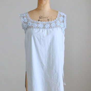 Vintage 1910s Faded Blue Cotton and Crochet Tank