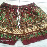 Marron Boho Shorts Paisley Flora Retro Print Ikat Summer Beach Tribal Fashion Clothing Aztec Ethnic Hobo Cloth Cute Wear with Tank top Red