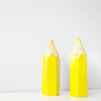 Vintage salt and pepper shakers  pencils bright by thecupcakekid