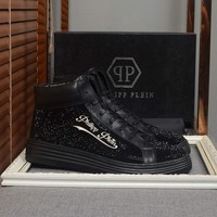 PP Philipp Plein Men's Leather Fashion High Top Sneakers Shoes