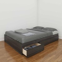 Nexera Atom Full Reversible Storage Bed, White/Ebony - Walmart.com