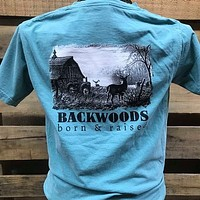 Backwoods Born & Raised Barn Deer Buck Country Comfort Colors Bright Unisex T Shirt