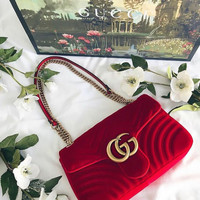 GUCCI Fashion Ladies Personality Double GG Metal Chain Crossbody Satchel Shoulder Bag Red I