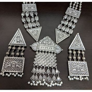 Silver look alike long chain oxidized silver tribal design necklace and earring set