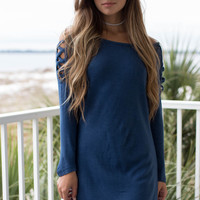 Babes In Navy Off The Shoulder Dress