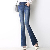 New women Slim Fit high Waist Flare Jeans Plus Size Stretch Jeans Bell-Bottom Pants Denim Trousers T904