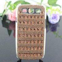 Best Selling Bling Crystal Peach Glass Cube Studded Geometric & Paved Pronged Diamond Phone Cover Case for Samsung i9300 Galaxy S3
