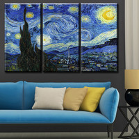 3 pcs Vincent van Gogh STARRY NIGHT C.1889 Art  Wall Picture Room Canvas Print Modern Painting Large Canvas Art Cheap