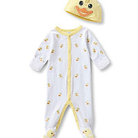 Starting Out Newborn-6 Months Duck Footed Coverall & Hat Set - White/M