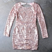 Final Sale - Rose Gold Sequin Long Sleeve Bodycon Dress