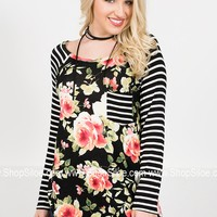 Jackson Floral Striped Onyx Top
