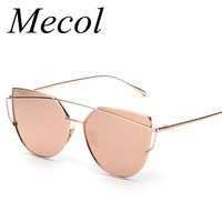 Mecol Fashion Women Cat Eye Sunglasses ClassicTwin-Beams Rose Gold Frame Sun Glasses for Women Mirror Flat Lense Sunglass M195