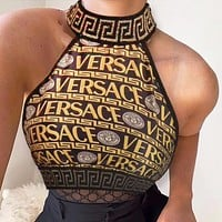 Versace Fashion Women Two Piece Top Tank Bikini underwear Black Gold
