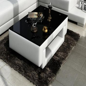 Contemporary White Leather Coffee Table with Black Glass Table Top