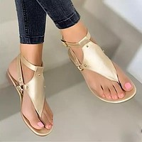 Women Sandals Outdoor Beach Flip-flop Sandals Solid Fashion Gladiator Sandals Women Flats Casual Ladies Shoes
