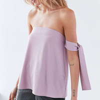 Silence + Noise Lovers Lane Off-The-Shoulder Tie Top - Urban Outfitters