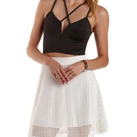 Black Caged Deep V Crop Top by Charlotte Russe