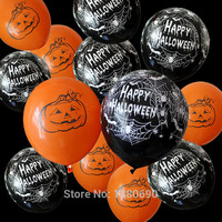 New Arrival 100pc/L Happy Halloween Balloon 12 inches 3.2g Pumpkin/skull/spider Webs Decorative Balloons orange/Black Baloons