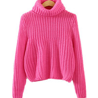 Rose Red High Neck Knitted Sweater