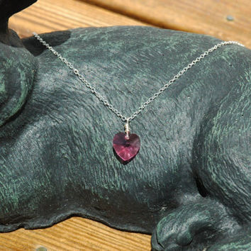 Silver necklace with rose heart pendant, faceted heart pendant, Swarovski crystal