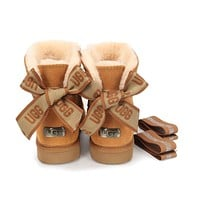 """""""UGG"""" Women male bow Fashion Wool Snow Boots"""