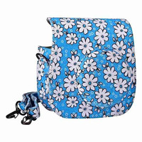 2015 New Lovely Flower Denim Fabric Camera Bag Case with Shoulder Strap for Fujifilm Instax Mini 8 Fujifilm Camera - Blue = 1930215364