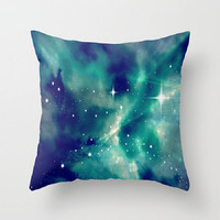 Blue, Sky, Night, Clouds, Stars, Supernova - Decorative Throw Pillow Cover, 3 Sizes Available - Home, Newlyweds, Gift - Made To Order-SN#83