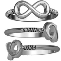 Infinite Love Flowing Infinity Ring in Sterling Silver