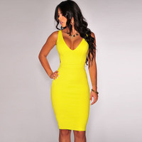 Yellow Open Back Bodycon Midi Dress