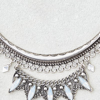 AEO Curved Bar Statement Necklace, Silver