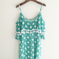 Green Polka Dot Strapless Dress with Fringed Tassels