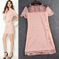 Mesh Short Sleeve Bodycon Lace Dress