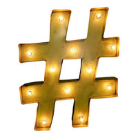 Hashtag Pound Symbol Marquee Sign Light